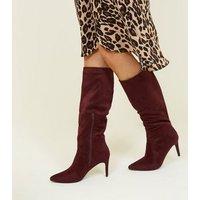Dark Red Suedette Knee High Pointed Stiletto Boots New Look