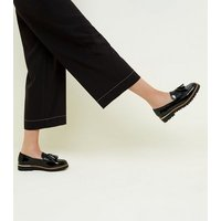 Black Patent Tassel Front Chunky Loafers New Look
