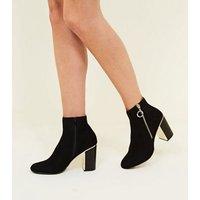 Black Suedette Metal Heel Ankle Boot New Look