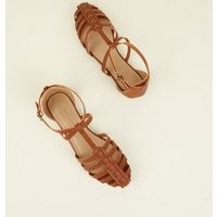 Tan Leather-Look Caged Closed Toe Sandals New Look