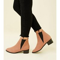Wide Fit Pink Suedette Low Heel Chelsea Boots New Look