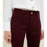 Burgundy Ankle Grazer Skinny Jenna Jeans New Look
