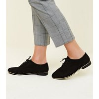 Wide Fit Black Suedette Piped Edge Brogues New Look