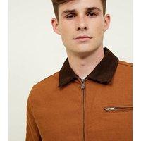 Men's Tan Corduroy Collar Trucker Jacket New Look