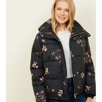 Blue Vanilla Black Floral Puffer Jacket New Look