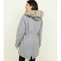Pale Grey Faux Fur Hooded Parka Jacket New Look