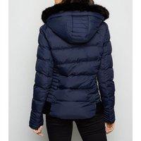 Blue Vanilla Navy Faux Fur Hooded Puffer Jacket New Look