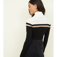 Black Colour Block Ribbed Roll Neck Jumper New Look