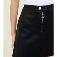 Black Zip Front Leather-Look A-Line Skirt New Look