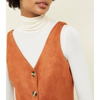 Rust Suedette Button Through Pinafore Dress New Look