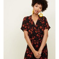 Black Floral Revere Collar Wrap Front Jumpsuit New Look