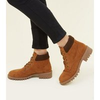 Girls Tan Suedette Worker Boots New Look