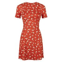 Orange Ditsy Floral Soft Touch Skater Dress New Look