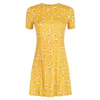 Yellow Ditsy Floral Soft Touch Skater Dress New Look