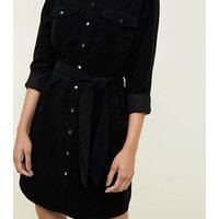 Black Corduroy Shirt Dress New Look