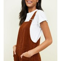 Rust Corduroy Pocket Front Pinafore Dress New Look