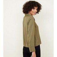 Khaki Crepe Revere Collar Boxy Shirt New Look