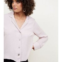 Pale Pink Crepe Revere Collar Boxy Shirt New Look