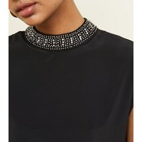 Black Diamante Neck Cap Sleeve Top New Look