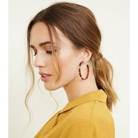 Red and Brown Resin Skinny Hoop Earrings New Look