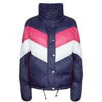 Pink Vanilla Navy Chevron Puffer Jacket New Look