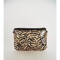 Bronze 2 Way Sequin Clutch Bag New Look