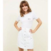 Tall White Button Front Denim Mini Skirt New Look