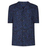 Navy Leopard Print Revere Collar Short Sleeve Shirt New Look
