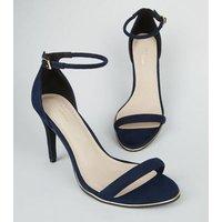 Navy Comfort Suedette Metal Trim Stiletto Sandals New Look