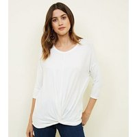 Off White Twist Front 3/4 Sleeve T-Shirt New Look