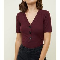 burgundy-contrast-button-front-ribbed-tshirt-new-look