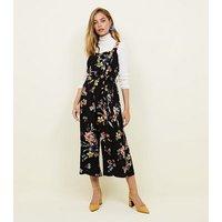 Petite Black Floral Button Front Culotte Jumpsuit New Look
