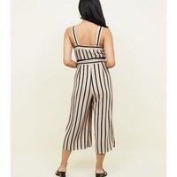 Petite Brown Stripe Button Front Culotte Jumpsuit New Look