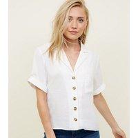 Petite Off White Short Sleeve Linen-Look Shirt New Look