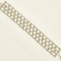 Silver Diamante Wide Link Bracelet New Look