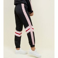 Black Colour Block Cuffed Joggers New Look