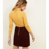 Petite Burgundy Corduroy Mini Skirt New Look