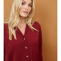 Maternity Burgundy Crepe Revere Collar Boxy Shirt New Look