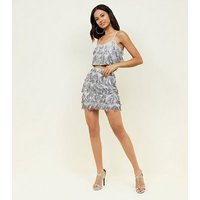 Silver Diamond Pattern Fringed Sequin Skirt New Look