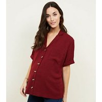 Maternity Burgundy Revere Collar Button Front Shirt New Look