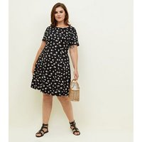 Curves Black Ditsy Floral Soft Touch Skater Dress New Look
