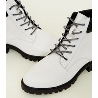 Girls White Contrast Lace-Up Worker Boots New Look