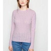 Light Purple Ribbed Long Sleeve T-Shirt New Look