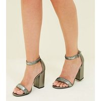 Pewter Metallic Sequin Strap Block Heels New Look