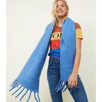 Blue Longline Boucle Scarf New Look