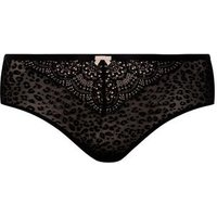 Curves Black Flocked Leopard Print Brazilian Briefs New Look