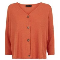 orange-ribbed-button-front-34-sleeve-top-new-look