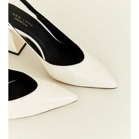 Off White Premium Leather Slingback Courts New Look