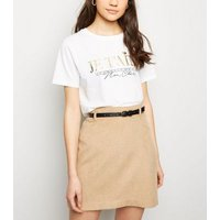 Camel Belted Brushed Twill A-Line Skirt New Look