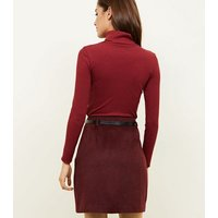 Plum Belted Brushed Twill A-Line Skirt New Look